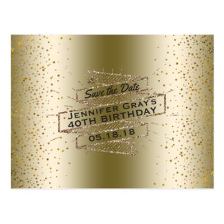 Glam Gold Save the Date Elegant Birthday Party Postcard