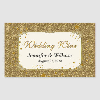 Glam Gold Tone Wedding Wine Bottle Label Rectangular Sticker