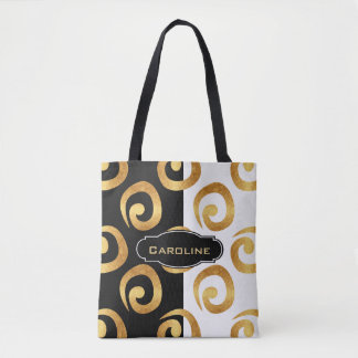 Glam Golden Curls with Custom Monogram Tote Bag