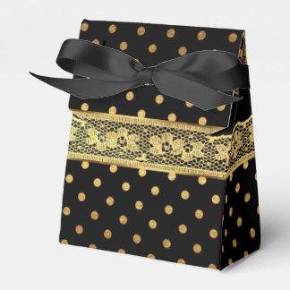 Glam Golden Dots Black Lace Stripes Favour Box