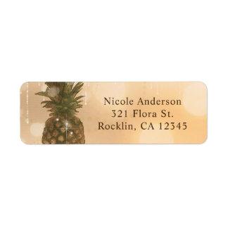 Glam Golden Pineapple Elegant Tropical Invitation Return Address Label