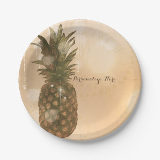 Glam Golden Pineapple Elegant Tropical Party Paper Plate