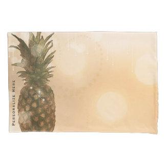 Glam Golden Pineapple Elegant Tropical Sparkle Pillowcase