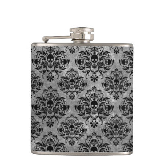 Glam Goth Mini Skull Damask Pattern Black Gray Hip Flask