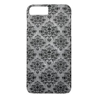 Glam Goth Mini Skull Damask Pattern Black Gray iPhone 8 Plus/7 Plus Case