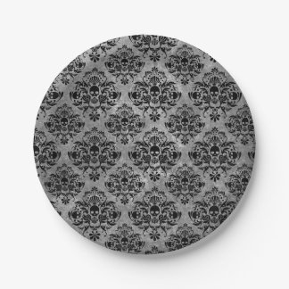 Glam Goth Mini Skull Damask Pattern Black Gray Paper Plate