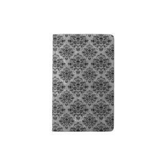 Glam Goth Mini Skull Damask Pattern Black Gray Pocket Moleskine Notebook