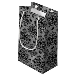 Glam Goth Mini Skull Damask Pattern Black Gray Small Gift Bag