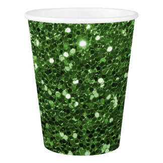 Glam Green Faux Glitter Sparkle Print Paper Cup