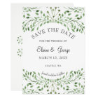 Glam Greenery wedding save the date cards