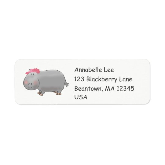 Glam  Hippo Return Address Label
