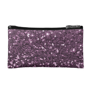 Glam Lavender Purple Faux Glitter Print Cosmetic Bag