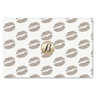 Glam Lips Kiss Glamour Chic Monogram Modern Party Tissue Paper