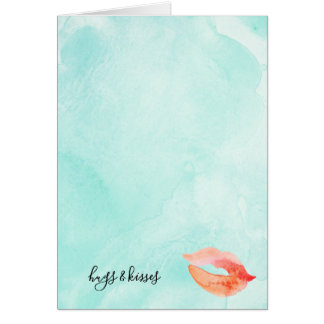 Glam Lips Mint Watercolor Card