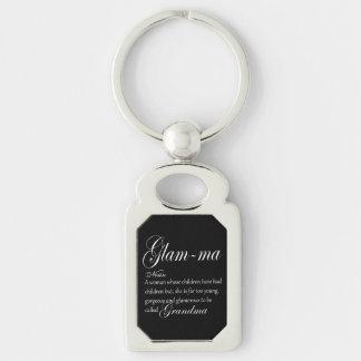 GLAM MA grandma definition Silver-Colored Rectangle Key Ring
