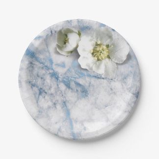 Glam Marble Sapphire Blue White Jasmine Glitter 7 Inch Paper Plate