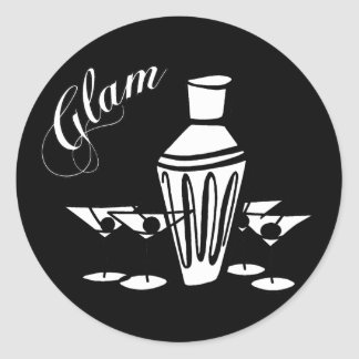 Glam Martini Mix - Black & White Round Sticker
