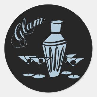 Glam Martini Mix - Blue Round Sticker