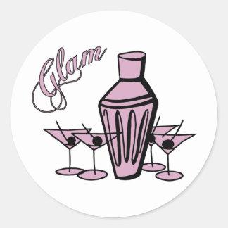 Glam Martini Mix - Pink Round Sticker