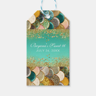 Glam Mermaid Gold Teal Scales Birthday Party Favor Gift Tags
