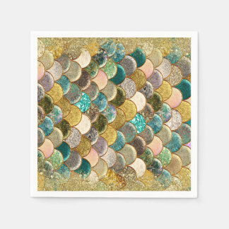 Glam Mermaid Scales Birthday Party Paper Napkins