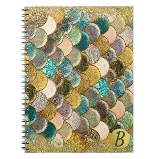 Glam Mermaid Scales Multi Color Sea Monogram Spiral Notebook