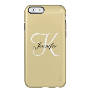 Glam Metallic Gold and Black White Monogram Name Incipio Feather® Shine iPhone 6 Case
