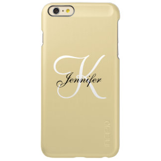 Glam Metallic Gold and White Monogram Name