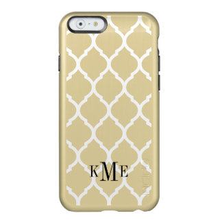 Glam Metallic Gold and White Quatrefoil Monogram Incipio Feather® Shine iPhone 6 Case