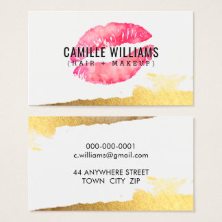 GLAM MINIMALIST gold pink watercolour lipstick Business Card