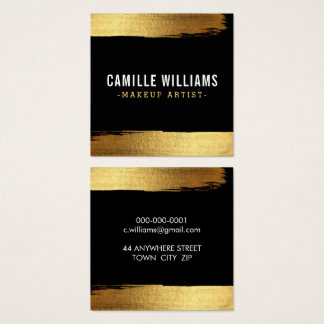 GLAM MINIMALIST luxe faux gold foil brush stroke Square Business Card