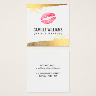 GLAM MINIMALIST luxe gold pink watercolour kiss Square Business Card