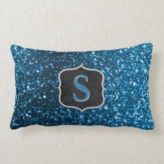 Glam Monogram Initial | Blue Glitter Girly Bling Lumbar Cushion