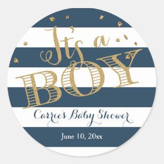Glam Navy Rugby Stripe Boy Baby Shower Sticker