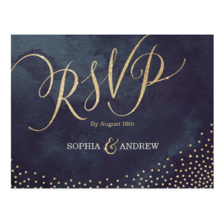Glam night faux gold glitter calligraphy RSVP Postcard