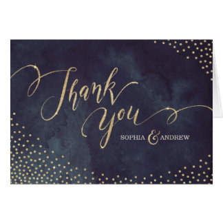Glam night faux gold glitter calligraphy thank you note card