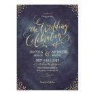 Glam night faux gold glitter calligraphy wedding card