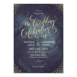 Glam night faux gold glitter calligraphy wedding card