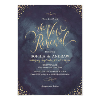 Glam night gold calligraphy vow renewal card