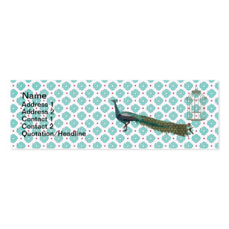 Glam Peacock Blue Floral Business Cards