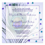 Glam Peacock Feather Purple Wedding Custom Announcements