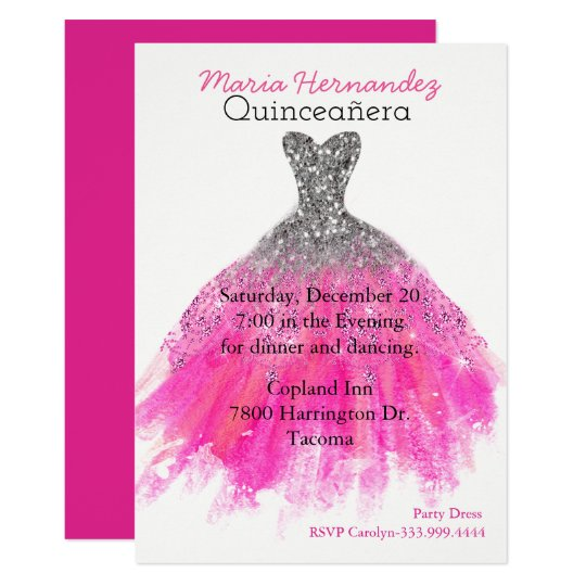 Glam Pink and Silver Gown Quinceañera Invitation
