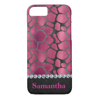 Glam pink black animal print diamonds personalized iPhone 8/7 case