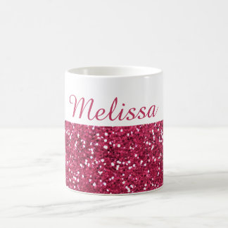 Glam Pink Glitter Custom Name Coffee Mug