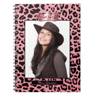 Glam Pink Jaguar Custom Photo Quinceañera Notebook