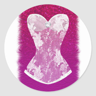 Glam Pink & White Trendy Lingerie Shower Favor Classic Round Sticker