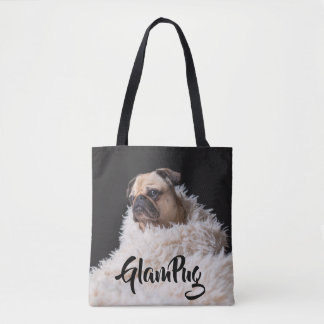 Glam Pug Dog Tote Bag
