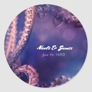 Glam Purple Glow Chic Glamour Pearls Party Favor Classic Round Sticker