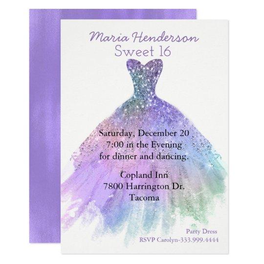 Glam Purple Gown Sweet 16 Birthday Invitation
