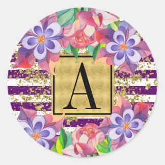 Glam Purple Stripes Gold Dust Floral Monogram Round Sticker